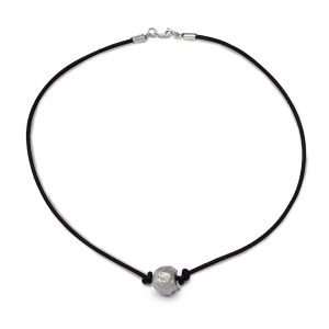 Silver nugget bead on cord necklace