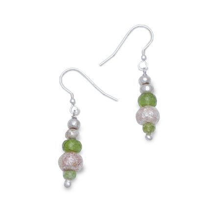 Faceted Peridot and Silver Nugget Random Earrings
