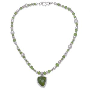 Faceted Peridot and Random Silver Nugget Necklace