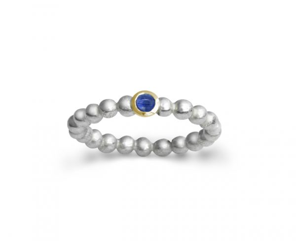 Silver, Gold and Sapphire Nugget Ring