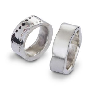 Side Hammered Rectangular Rings with Flush Set Diamonds