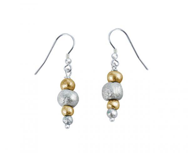 Random silver and gold nugget earrings