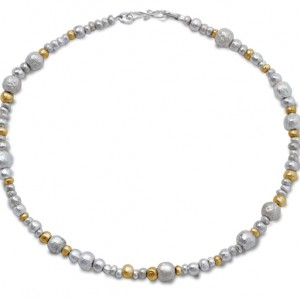 Random Silver and Gold Nugget Necklace