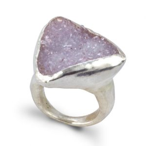 Silver Rough Cut Druzy Ring
