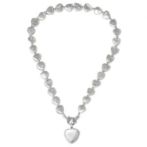 Silver White Heart Pearls Necklace
