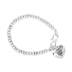 engraved heart bracelet in silver