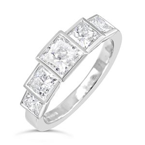 princess cut diamond art deco ring
