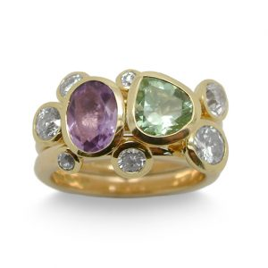 Gold Stacking Ring Amethyst and Diamond