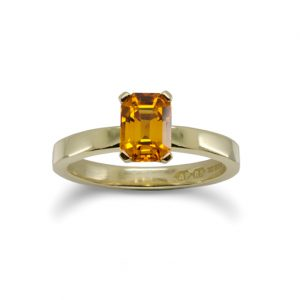 Gold Emerald Cut Orange Sapphire Ring
