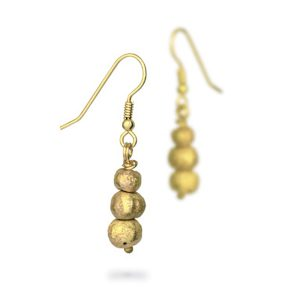 Gold Triple Nugget Earrings