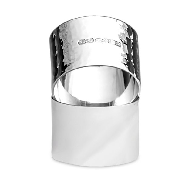 Silver Napkin Ring with hammered finish