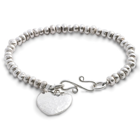 Handmade Silver Nugget Bracelet with Peened Heart Charm