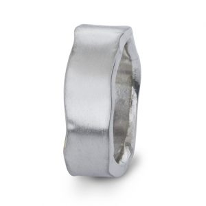 Silver Side Hammered Rectangular Ring