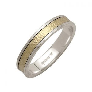Two Colour Textured Banded Ring