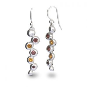 Stone Set Silver Nugget Earrings