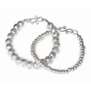 Solid Silver Nugget Bead Bracelet