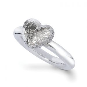 Silver Nugget Heart Ring