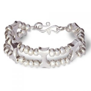 Silver Nugget and Bone Bracelet