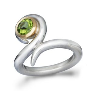 Peridot, Silver and Gold Swirl Ring