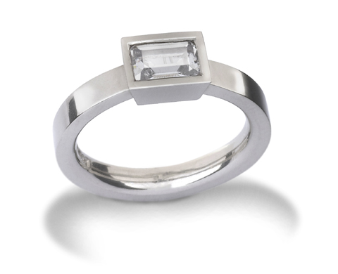 0.6ct Emerald Cut Diamond Engagement Ring in platinum