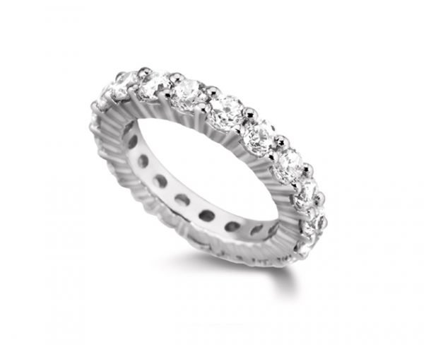 Claw set eternity ring in platinum with 2cts 3mm round diamonds