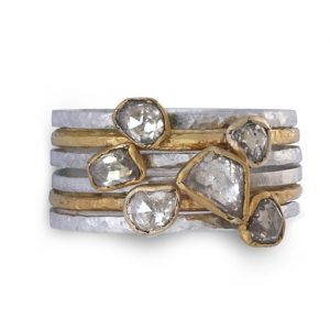 Rough Diamond Stacking rings in silver and gold set with rough diamonds