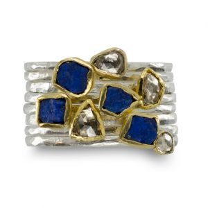 Rough Lapis Lazuli and Diamond Stacking Rings