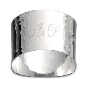 Engraved Script Initial silver napkin ring