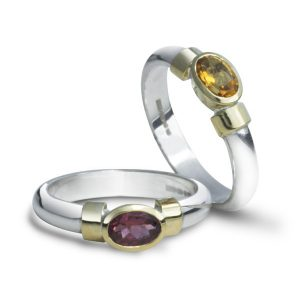Modern ring Silver and 18ct Gold Oval Shoulder Rings