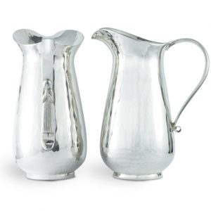 Silver Jug planished wiith forged scroll handle