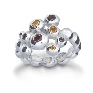 Stone Set Silver Nugget Dress Rings