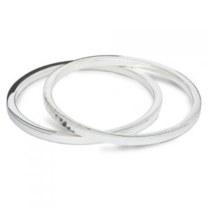 Solid Silver 4mm Square Section Silver Bangles