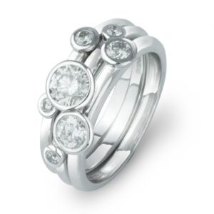 Diamond Stacking Rings Platinum