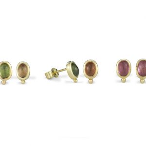 "18ct Gold and Tourmaline ""Roman"" Earstuds"