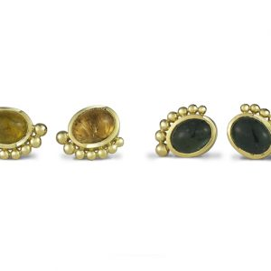 "Tourmaline earstuds 18ct Gold ""Roman"" Design"