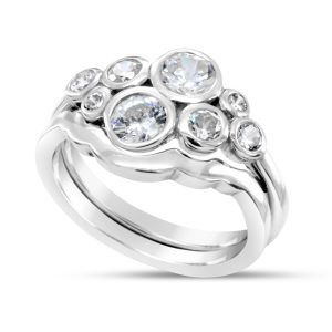 Bubble Engagement Ring with Fitted Wedding Ring