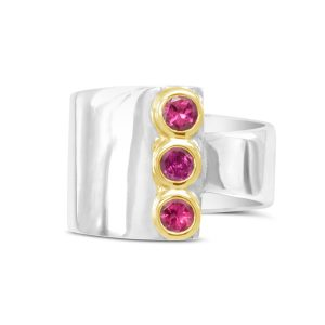 11000008 tourmaline wrap round 18ct gold setting and silver