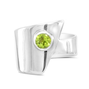 Silver Peridot wrap round ring