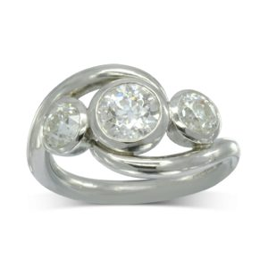 2ct diamond trilogy ring contemporary design