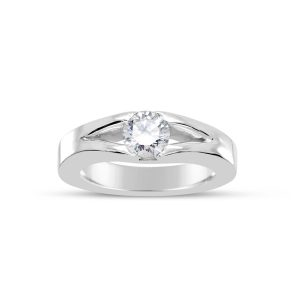 Square Split Shank Solitaire Ring