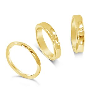 Gold Side Hammered Rings