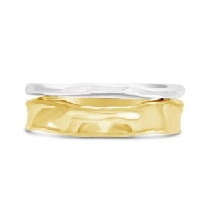 Side Hammered Rings With 18ct Gold Side Hammered Ring
