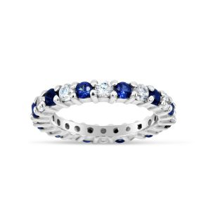Sapphire and Diamond Claw Set Eternity Ring