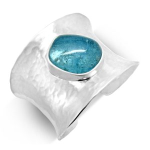 Aquamarine silver cuff bangle