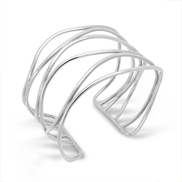 Silver cuff bangle with a six strand wave design
