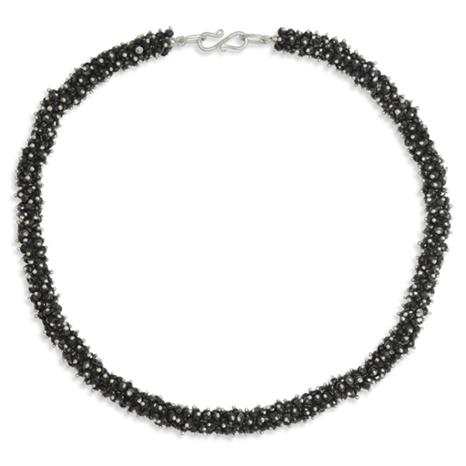 Onyx and Silver Beaded Cord Necklace