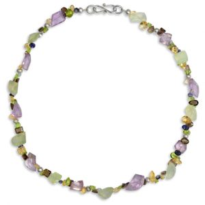 Amethyst and Phrenite Marwar Facet Necklace