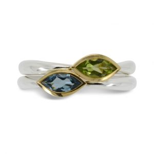 Silver Stacking Rings with Marquise Cut Aquamarine