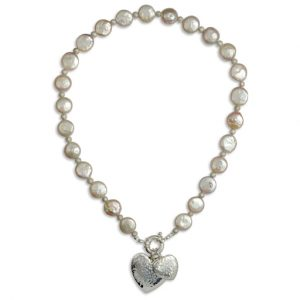 Pink Coin Pearl Silver Necklace