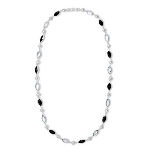 Opera Necklace Onyx and Green Amethyst